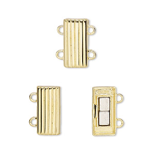 clasp, 2-strand magnetic, vermeil, 14x7mm rectangle. sold individually.