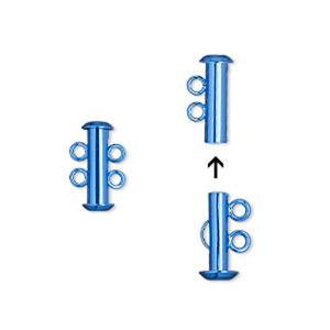 clasp, 2-strand slide lock, electro-coated brass, blue, 16.5x6mm tube. sold per pkg of 2.