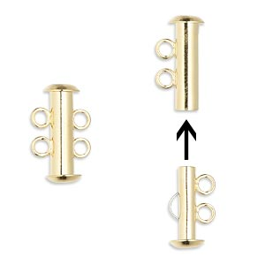 clasp, 2-strand slide lock, gold-plated brass, 16x6mm tube. sold per pkg of 10.