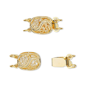 clasp, 2-strand tab, gold-plated brass, 12x9mm filigree oval. sold per pkg of 4.
