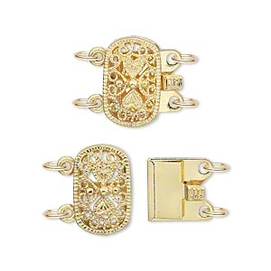 clasp, 2-strand tab, gold-plated brass, 14x9mm filigree oval. sold per pkg of 2.