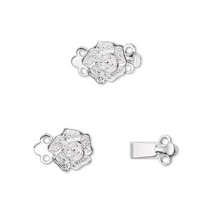 clasp, 2-strand tab, silver-plated brass, 9x9mm single-sided rose. sold per pkg of 100.