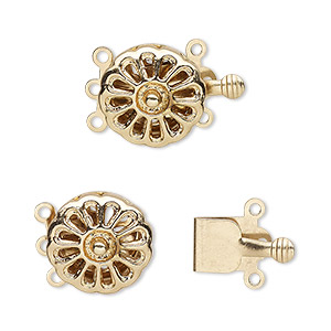 clasp, 3-strand tab, gold-finished brass, 13mm round flower with cutout teardrops. sold per pkg of 10.