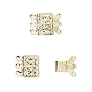 clasp, 3-strand tab, gold-plated brass, 10x7mm filigree square. sold per pkg of 100.