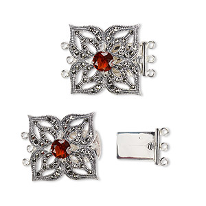 clasp, 3-strand tab, signity marcasite (natural) / garnet (imitation) / antiqued sterling silver, 24x24mm flower with cutout petals. sold individually.