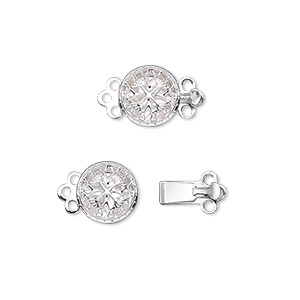 clasp, 3-strand tab, silver-plated brass, 9mm single-sided filigree round. sold per pkg of 100.