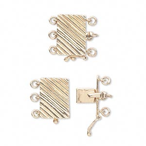 clasp, 3-strand tab with safety, 14kt gold, 12x9mm corrugated rectangle. sold individually.