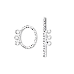 clasp, 3-strand toggle, sterling silver, 14x11mm dotted oval. sold individually.