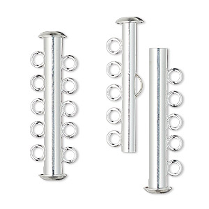 clasp, 5-strand slide lock, silver-plated brass, 31x6mm tube. sold per pkg of 10.