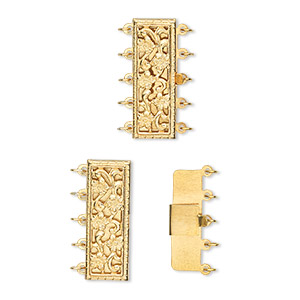 clasp, 5-strand tab, 14kt gold-filled, 23.5x8.5mm rectangle. sold individually.
