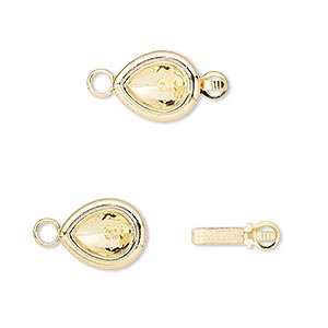clasp, almost instant jewelry, tab, gold-plated brass, 12x10mm teardrop with 8x6mm pear setting. sold per pkg of 4.