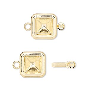 clasp, almost instant jewelry, tab, gold-plated brass, 13x13mm square with 8x8mm square setting. sold per pkg of 4.