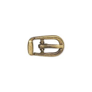 clasp, antiqued brass-finished pewter (zinc-based alloy), 18x11mm single-sided buckle with 8.5mm end bar. sold per pkg of 4.