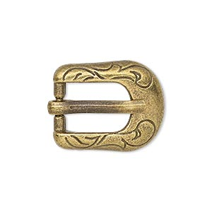 clasp, antiqued brass-finished pewter (zinc-based alloy), 24x19mm single-sided buckle with swirl design, 14x9.5mm inside diameter. sold per pkg of 2.