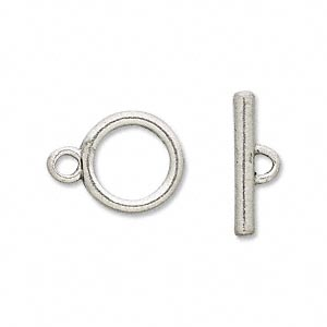 clasp, antiqued pewter (tin-based alloy), 14mm toggle. sold per pkg of 4.