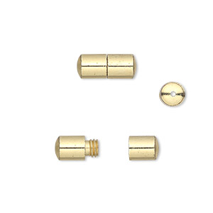 clasp, barrel, gold-finished brass, 12x5mm smooth round tube. sold per pkg of 20.