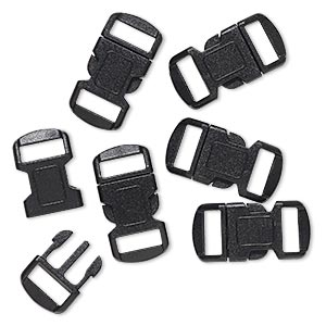 clasp, buckle, plastic, black, 30x15mm with 12x4mm hole. sold per pkg of 6.