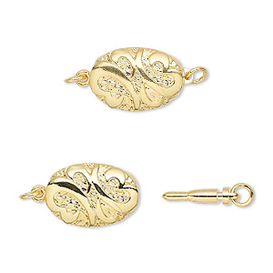 clasp, bullet, gold-plated brass, 16.5x10mm puffed oval with swirls. sold per pkg of 4.