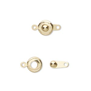 clasp, button, gold-plated brass, 7.5mm round. sold per pkg of 10.