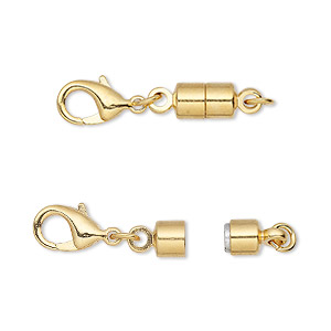 clasp converter, magnetic, magna clasp™, gold-plated brass, 25x6mm. sold individually.