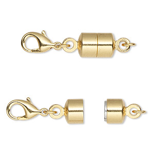 clasp converter, magnetic, magna clasp™, gold-plated brass, 28x7mm. sold individually.