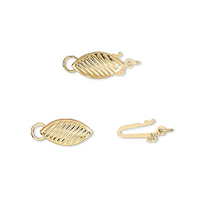 clasp, fishhook, gold-plated brass, 11x5.5mm oval with lines. sold per pkg of 2.