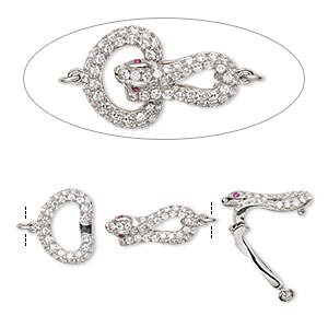 clasp, fold-over, cubic zirconia and sterling silver, clear and pink, 22x15mm snake. sold individually.