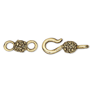 clasp, hook-and-eye, antique gold-plated pewter (tin-based alloy), 26x8mm with flowers. sold per pkg of (4) 2-piece sets.