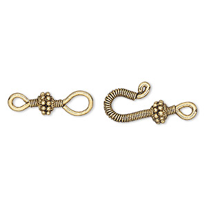 clasp, hook-and-eye, antique gold-plated pewter (tin-based alloy), 37x12mm ribbed wire with dotted bead. sold individually.