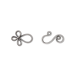 clasp, hook-and-eye, antique silver-plated brass, 22x8.5mm swirl. sold per pkg of 24.