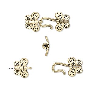 clasp, hook-and-eye, antiqued brass, 21x9mm butterfly with crimp end, 1mm inside diameter. sold individually.