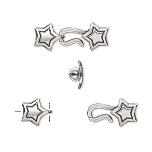 clasp, hook-and-eye, antiqued silver-plated brass, 22x8mm star with crimp end, 2mm inside diameter. sold individually.