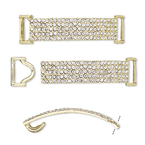 clasp, hook-and-eye, glass rhinestone and gold-finished pewter (zinc-based alloy), clear, 49x13mm single-sided curved rectangle, 10x3.5mm inside diameter. sold per 2-piece set.