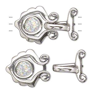 clasp, jbb findings, 3-strand hook-and-eye, sterling silver and roman glass, 23.5x18mm. sold individually.