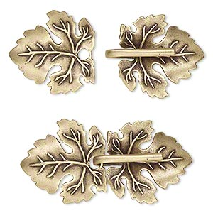 clasp, jbb findings, hook-and-eye, antiqued brass, 45x22mm single-sided leaves with hidden loops. sold individually.