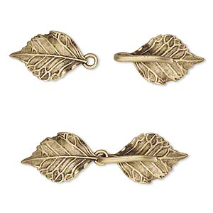 clasp, jbb findings, hook-and-eye, antiqued brass, 51x15mm double-sided leaves with hidden loops. sold individually.