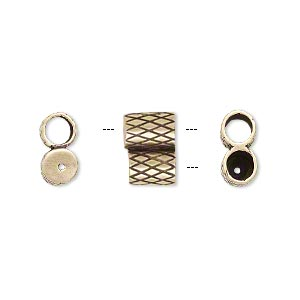 clasp, jbb findings, slide, antiqued brass, 11x7.5mm textured double-round tube, fits 4mm cord. sold per 2-piece set.