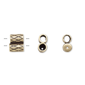 clasp, jbb findings, slide, antiqued brass, 9x7.5mm textured double-round tube, fits 3mm cord. sold per 2-piece set.