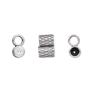 clasp, jbb findings, slide, antiqued sterling silver, 11x7.5mm textured double-round tube, fits 4mm cord. sold per 2-piece set.