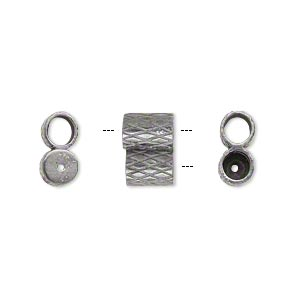 clasp, jbb findings, slide, gunmetal-plated brass, 11x7.5mm textured double-round tube, fits 4mm cord. sold per 2-piece set.