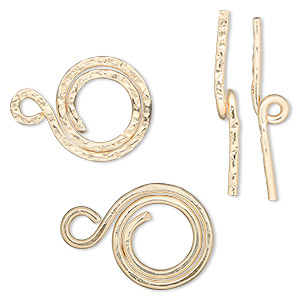 clasp, jbb findings, toggle, 14kt gold-filled, 15mm round swirl. sold individually.