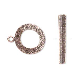 clasp, jbb findings, toggle, antique copper-plated brass, 18mm textured curved round. sold individually.