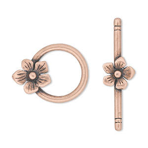 clasp, jbb findings, toggle, antique copper-plated pewter (tin-based alloy), 23x18mm single-sided round with flower. sold individually.