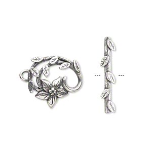 clasp, jbb findings, toggle, antique silver-plated brass, 16x15mm fancy flower and vine. sold individually.