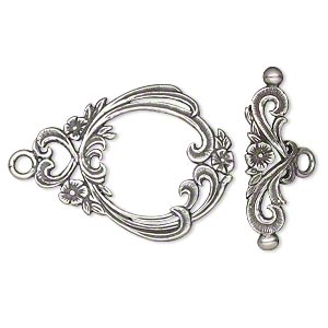 clasp, jbb findings, toggle, antique silver-plated brass, 29.5x23mm with flowers and hearts. sold individually.