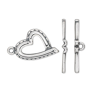clasp, jbb findings, toggle, antique silver-plated pewter (tin-based alloy), 22x15.5mm single-sided heart. sold individually.