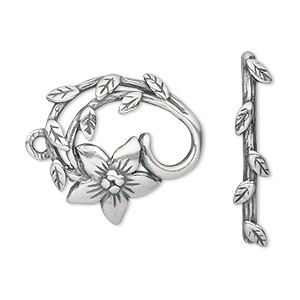 clasp, jbb findings, toggle, antique silver-plated pewter (tin-based alloy), 24x22.5mm single-sided fancy flower. sold individually.
