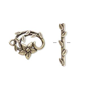 clasp, jbb findings, toggle, antiqued brass, 16x15mm fancy flower and vine. sold individually.
