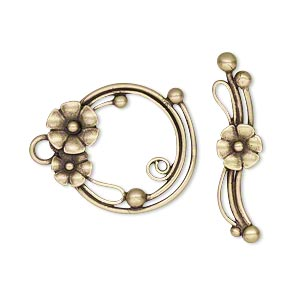 clasp, jbb findings, toggle, antiqued brass, 22x19mm round with flowers and balls. sold individually.