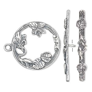 clasp, jbb findings, toggle, antiqued sterling silver, 23mm round with leaves and flowers. sold individually.